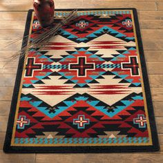 Rustic Cross Blue Southwestern Rug Collection