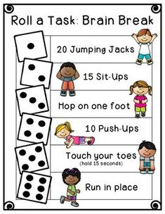 Quick and easy brain breaks! Roll a Task: Brain Break Physical Activities For Kids, Toddler Activities, Fun Activities, Kids Brain Games, Anger Management Activities For Kids, Music Games For Kids, Activities For 6 Year Olds, Elementary Education Activities, Outside Activities For Kids