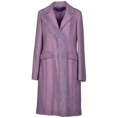 Roccobarocco Coat ($650) ❤ liked on Polyvore featuring outerwear, coats, lilac, long sleeve coat, roccobarocco, lapel coat, purple coat and padded coat
