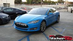 Tesla Model S Wrapped In Glossy Intense Blue.  - http://www.stickercity.com/portfolio/tesla-model-s-wrapped-glossy-intense-blue