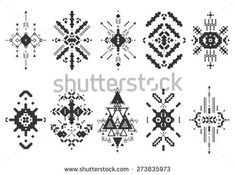 Tribal elements, ethnic collection, aztec stile, tribal art, tribal pattern isolated on white background