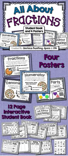 All About Fractions --- Four Posters and 12-Page Interactive Student Book!