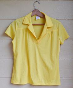 New Listing! Vintage Womens V Neck Polyester Shirt Womens by founditinatlanta, $17.00