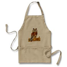 Classic owl apron for a nature lover, bird watcher, vacation cabin decor, chefs, cooks, etc. Has a wonderful woodsy outdoor feel. ~ Let's go camping or get out the grill. http://www.zazzle.com/great_horned_owl_apron-154904748989503225?rf=238756979555966366&tc=PinKM