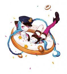 ✧ #characterconcepts ✧ League of Legends Jinx in Doughnut