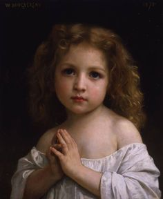 """Little girl"" (1878) by William-Adolphe Bouguereau, from La Rochelle, France (1825 - 1905) - oil on canvas; 45.5 x 38 cm"