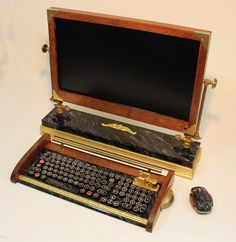 Custom Built - 21.5 inch Widescreen LED Monitor-Wireless Keyboard-Mouse Combo ...Victorian Steampunk Style