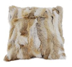 New Real Natural Cozy Genuine Rabbit Fur Pillow Back Cushion Seat Cushion…