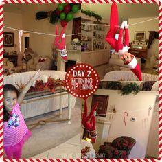 Elf On The Shelf - Day 2: Candy Cane Zip Lining! #ElfOnTheShelf