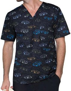 Style Code: A Men's V-neck top that features a chest pocket with a D-ring, a front and back yokes, side panels and triple needle topstitching throughout. Center back length: 29 Uniform Design, Side Panels, V Neck Tops, Fashionable Scrubs, Men Casual, Pocket, Ring, Mens Tops, Cartoon