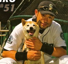 Ichiro and his shiba Ikkyu , hes such an amazing dog Cute Puppies, Cute Dogs, Dogs And Puppies, Doggies, Shiba Inu, Cute Baby Animals, Animals And Pets, Spitz Breeds, Ichiro Suzuki