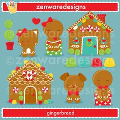 These cute little gingerbread and gingerbread houses are so sweet! Set includes girl gingerbread clipart, boy gingerbread clipart, dog gingerbread clipart, cat gingerbread clipart, gingerbread house clipart, and more! Precious Christmas graphics for the perfect cards, tote bags and monogramming. This set is wonderful for party invitations and notepads. The simple lines are great for embroidery as well!