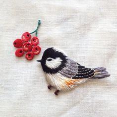 小鳥のアップリケ