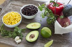 Black Bean Corn Avocado Dip on cutting board