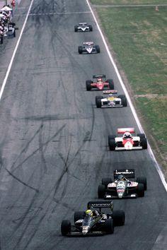 Senna, Berger, Prost, Mansell, Alboreto, Arnoux and Patrese.     The machines     Lotus 98T, Benetton B186, McLaren MP4/2C, Williams FW11, Ferrari F1/86, Ligier JS27 and Brabham BT55.     Hockenheimring '86