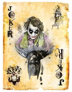 Batman: Joker card by illustrator Dave Mott (could be an alter-ego card, or hero/ villain card. Joker Playing Card, Joker Card, Playing Cards, Batman Tattoo, Joker Batman, Joker Kunst, Joker Und Harley Quinn, Jokers Wild, Heath Ledger