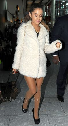Ariana Grande Jets into London In A Cute Fur Coat: http://rstyle.me/n/rgs6emxbn #CelebrityStyle #ArianaGrande
