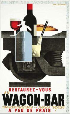 French Railroad Wagon Bar Car Am Cassandre Poster Print SKU3202 | eBay