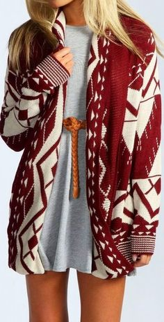 OutFit Ideas - Women look, Fashion and Style Ideas and Inspiration, Dress and Skirt Look Aztec Cardigan, Drape Cardigan, Oversized Cardigan, Tribal Sweater, White Cardigan, Long Cardigan, Slouchy Cardigan, Burgundy Cardigan, Waterfall Cardigan