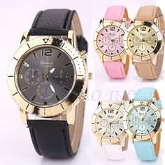 Fashion Geneva Women Leather Band Stainless Steel Dial Quartz Sport Wrist Watch #Unbranded #Casual