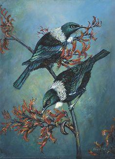 Tui on Flax by Peter Jean Caley Tui Bird, Flax Flowers, New Zealand Landscape, New Zealand Art, Nz Art, Kiwiana, Bird Artwork, Bird Drawings, Beautiful Birds