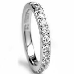Women Stainless Steel Eternity Ring CZ Cubic Zirconia Crystal Circle Round,Gold,7mm Width,Size 6