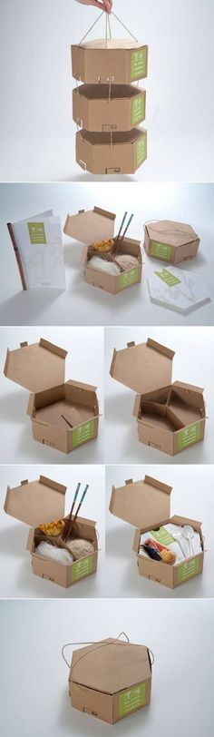 The Eco-friendly food packaging is like tiffin that is hung by threads. All three boxes of the packaging have different compartments so that more can be put in. Cool Packaging, Food Packaging Design, Packaging Design Inspiration, Brand Packaging, Branding Design, Takeaway Packaging, Product Packaging, Packaging Ideas, Logo Doce
