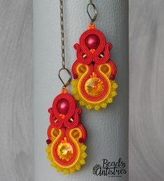 """Beads Antistres soutache earings from the """"Queen Shine"""" collection. Type QS04 Frosted Lemon ...6/2018"""