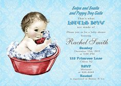 Vintage Blue Damask Boy Baby Shower Invitation by CuddleBugInvitations, $10.00