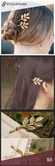 2 Gold Leaf Hair Clip Pin Barrette (2) Gold Leaf Hair Clip Pin Barrettes --- Bobby Pin Style --- Boutique Accessories Hair Accessories