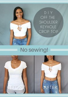Easy no-sew DIY way to turn a regular t-shirt into a cute off the shoulder / wrap and tie crop top with keyhole! ✂️