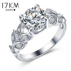 17 KM Silber Farbe Kristall Blume Hochzeit Ringe Für Frauen Schmuck Bague Bijoux Gold Farbe Femme Verlobungsring Zubehör