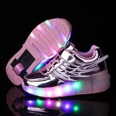 Zcoins Jungen Mädchen Schuhe Mit Rollen Roller Licht Sneaker Skateboardschuhe (39 EU, Black Pink Two Wheels)