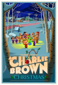 """""""A Charlie Brown Christmas"""" Poster by Laurent Durieux (Onsale Info) - OMG Posters! Peanuts Christmas, Charlie Brown Christmas, Charlie Brown And Snoopy, Christmas Time Is Here, Christmas Love, Vintage Christmas, Christmas Posters, Christmas Graphics, Christmas Photos"""