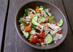 Quinoa Bowl with Grilled Chicken. Get more kid-friendly recipes like this at Plum Organics Little Foodies Cookbox https://www.plumlittlefoodies.com/little_foodies/2012/05/quinoa-bowl-with-grilled-chicken/