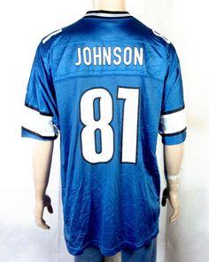 euc Reebok On Field Detroit Lions  81 Calvin Johnson Jersey NFL sz XL   Reebok ca6d8bf36