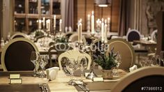 Wedding table decoration with candles