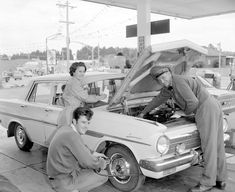 Golden Fleece Service Station, Bulleen, 1969 look at the guy checking the tyres hair style !!