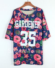 $10.30 Floral Print Scoop Neck Casual Style Number Print Cotton Bat-Wing Sleeve T-shirt For Women