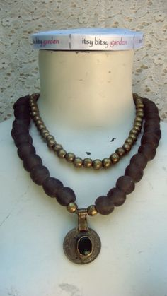 Handmade boho doble necklace with african beads. Facebook.com/itsybitsygarden.
