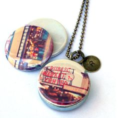 Seattle Locket Necklace - Starbucks Necklace - Artist Photography Locket - Magnetic Necklace by Polarity and Myan Soffia - 3 NECKLACES IN 1
