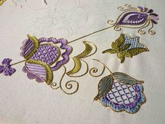 https://flic.kr/p/ejaBEb | Goldwork WIP7 13-15-13 | Despite lots of lovely sunlight, this pic is still rather dull and doesn't show the lovely glint from the gold thread.  Must get a better camera.