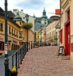 street in the town, Banska Stiavnica, historical unesco town , Slovakia .)