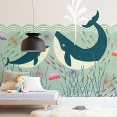 """Out at Sea"" kids' removable wall mural by Rebecca Humphreys only available from Minted. A mom and baby whale scene in a whimsical sea background. Easy to install, easy to remove. Childrens Wall Murals, Playroom Mural, Kids Wall Murals, Nursery Wall Murals, Custom Wall Murals, Nursery Paintings, Bedroom Murals, Mural Wall Art, Sea Nursery"