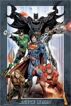 Justice League of America - JLA - Framed DC Comics Poster/Print (Superman, Batman, The Flash, The Green Lantern & Aquaman) (Size: 24 inches x 36 inches) Dc Comics Poster, Comic Poster, Marvel Dc Comics, Gotham Comics, Batman And Superman, Batman Robin, Spiderman, Aquaman, Justice League