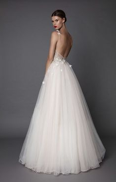Muse bridal line from Berta - Chic & Stylish Weddings The dresses transform us in Princesses or Queens for a day. Some inspirational fashion outfit ideas for the bride to be! Spaghetti Strap Wedding Dress, Wedding Dresses With Straps, Dream Wedding Dresses, Bridal Dresses, Wedding Gowns, Ballerina Wedding Dresses, Tulle Wedding, Spaghetti Straps, Delicate Wedding Dress