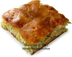 SALMON PIE.  A flat pie with top and bottom curst, like a galette.  You can make it fish-shaped.
