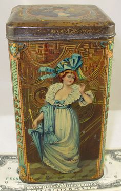 PRETTY LADIES & DANDY GENTLEMEN TEA CANDY BISCUIT TIN c1910 FRANCE