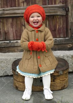 27005 Dale Garn Baby Coat pattern by Kari Haugen girl knit coat hat and mitts Knitting For Kids, Baby Knitting Patterns, Baby Patterns, Sewing Patterns, Baby Coat, Knitted Coat, Coat Patterns, Skirt Patterns, Blouse Patterns