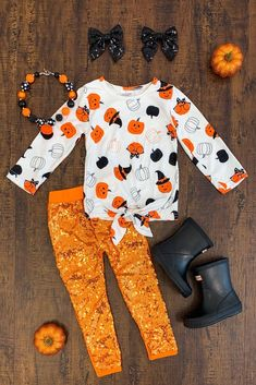 Black & Orange Pumpkin Sequin Pant Set - Sparkle In Pink Little Girl Outfits, Kids Outfits, Cute Outfits, Sequin Leggings, Baby Girl Pants, Baby Gown, Baby Kids Clothes, Doll Clothes, Outfit Sets